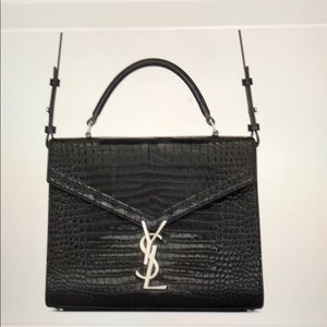 YSL Top Hanble medium shiny crocodile leather